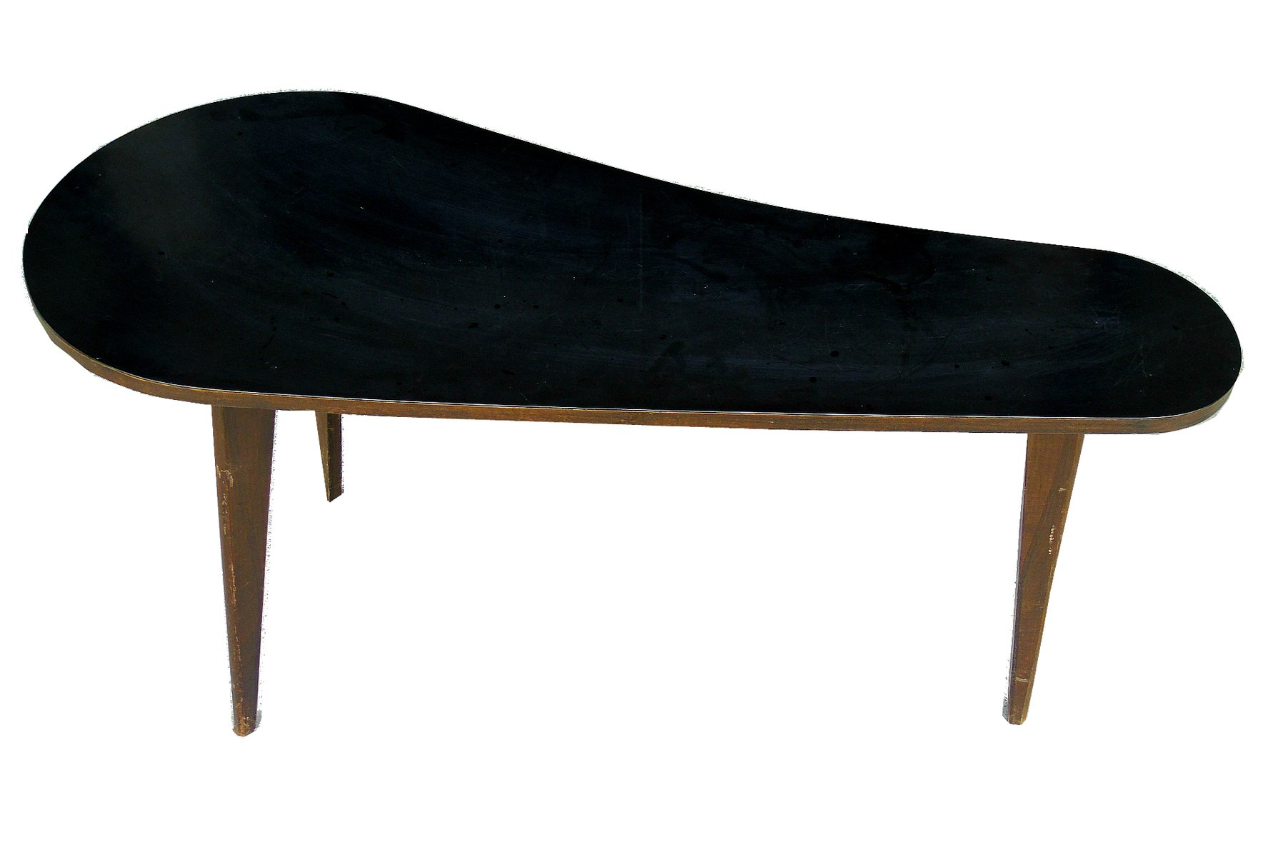 Vintage Kidney Shaped Wooden Coffee Table 1950s
