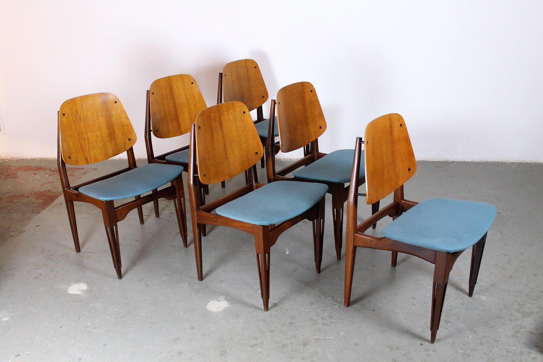 chaises de salle manger en palissandre teck plaqu par fratelli proserpio 1950s set de 6. Black Bedroom Furniture Sets. Home Design Ideas