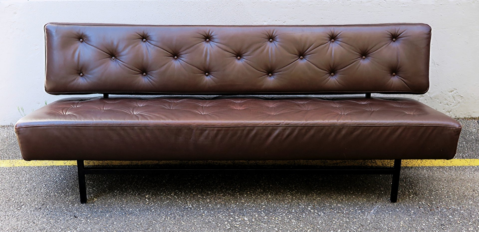 vintage brown leather sofa bed 1960s for sale at pamono. Black Bedroom Furniture Sets. Home Design Ideas
