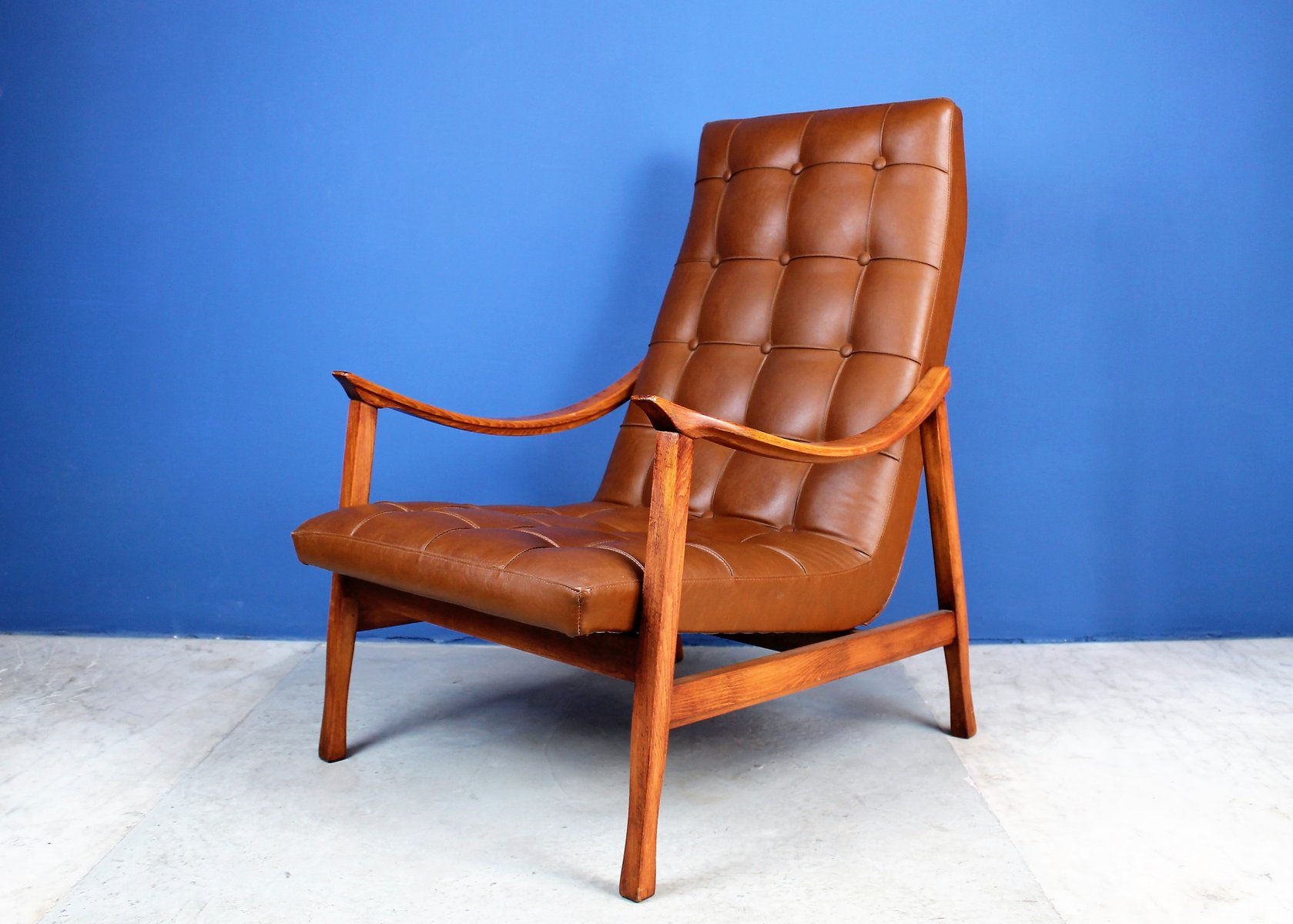 mid century scandinavian lounge chair in solid wood and eco leather for sale at pamono. Black Bedroom Furniture Sets. Home Design Ideas