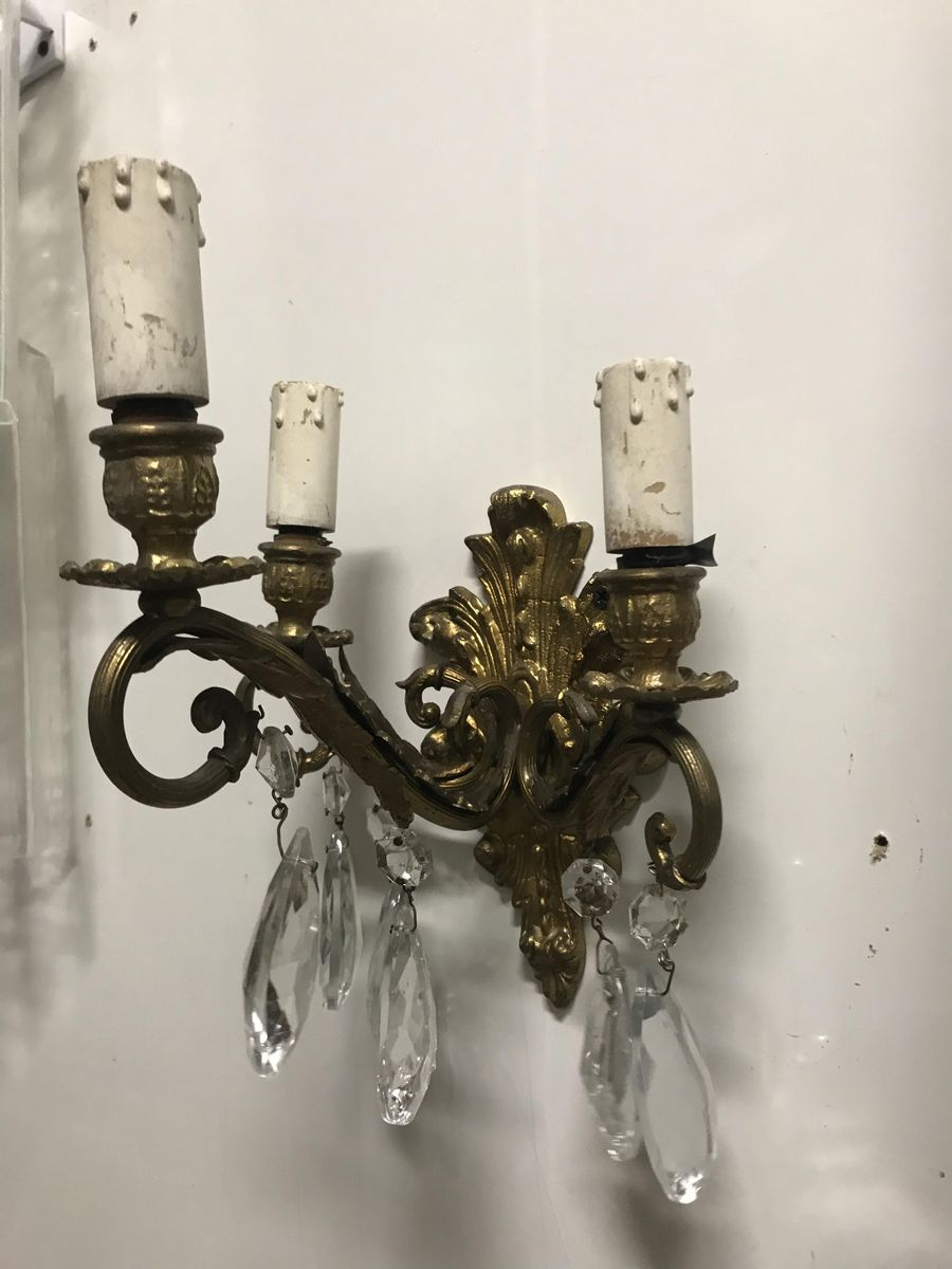 Vintage Bronze & Kristallglas Wandlampen, 2er Set