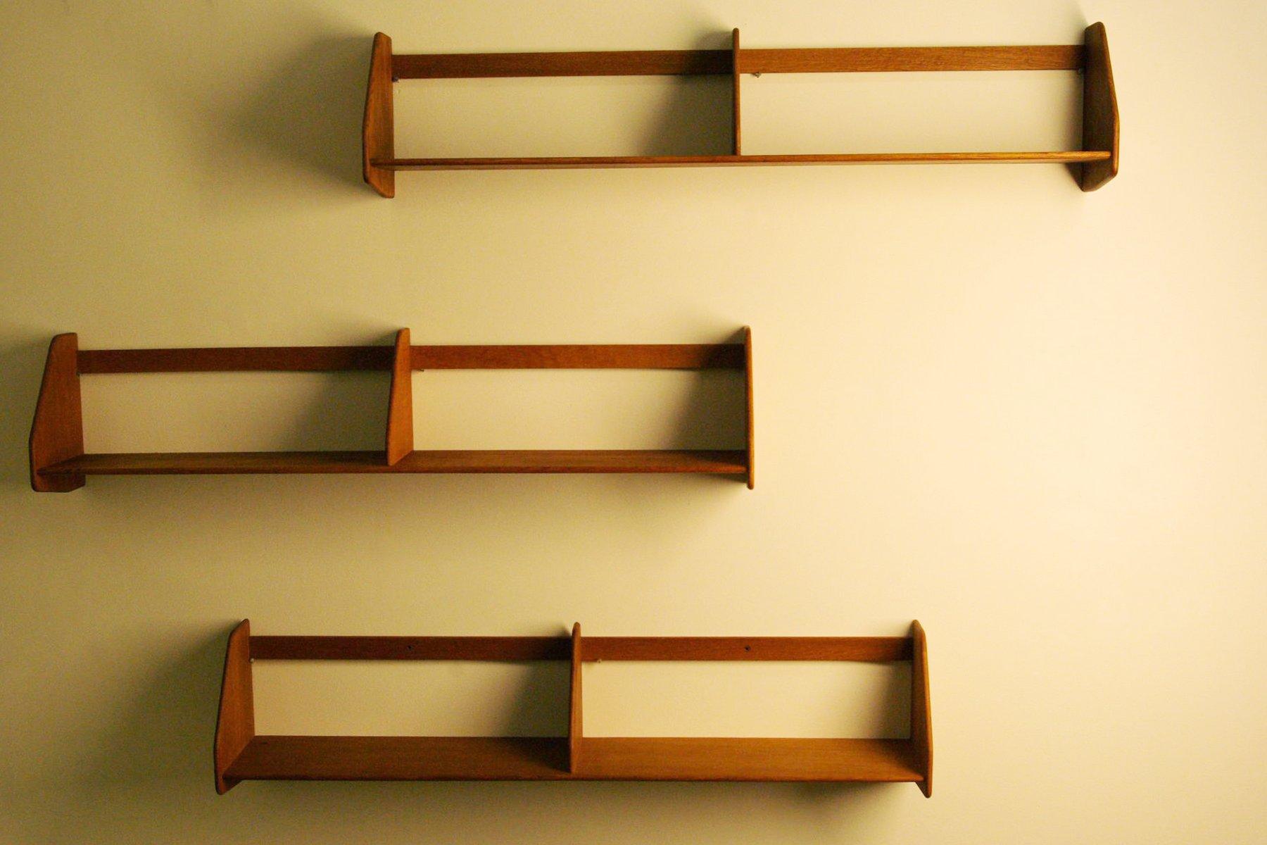 Oak Wall-Mounted Shelves by Hans J. Wegner for Ry Møbler, Set of 3 ...
