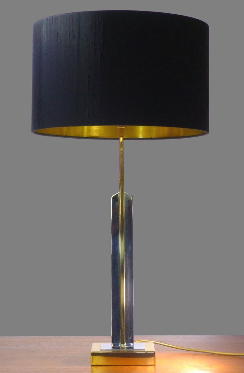 Chrom und Messing Skyscraper Tischlampe, 1970er