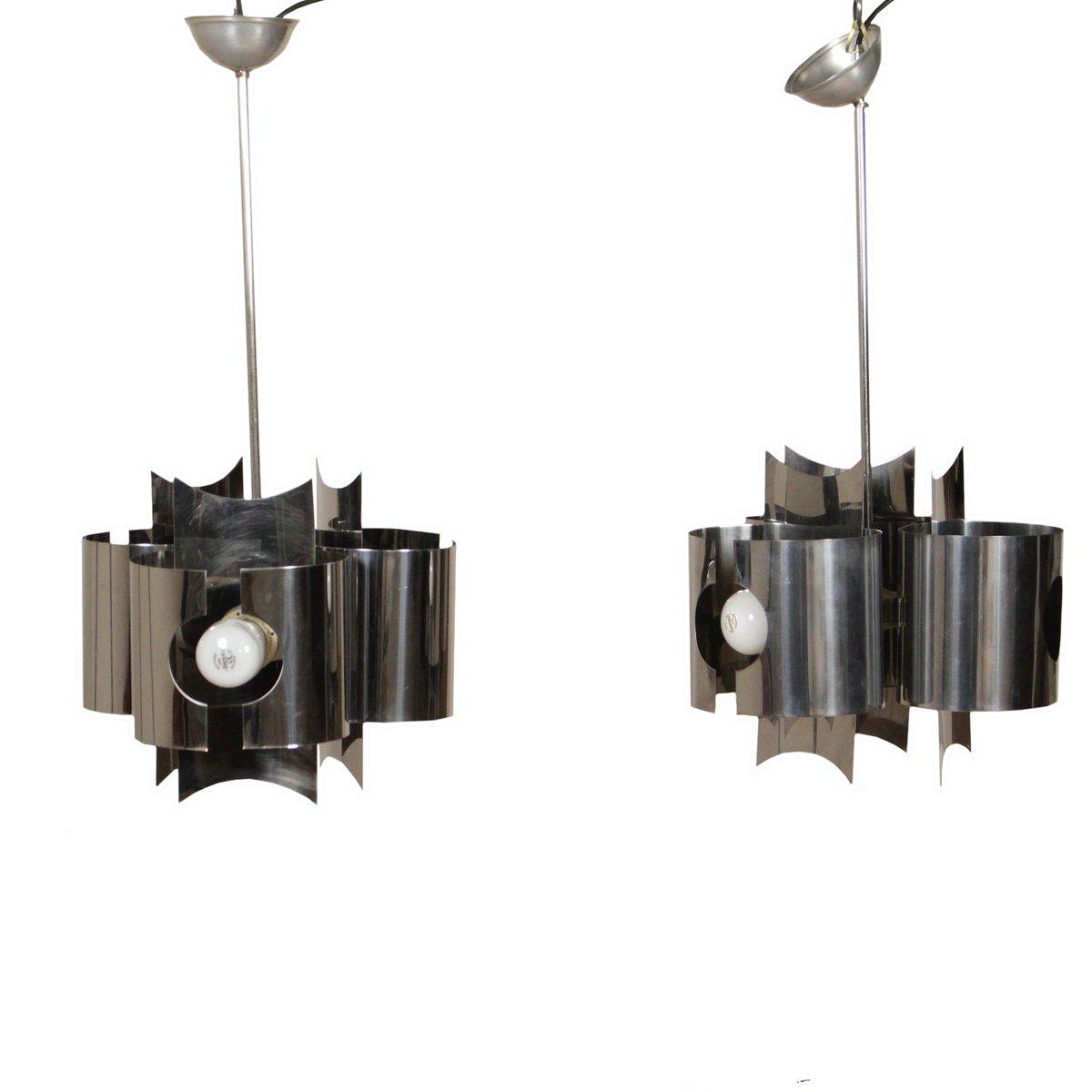 Italienische Vintage Deckenlampen aus verchromtem Metall, 2er Set