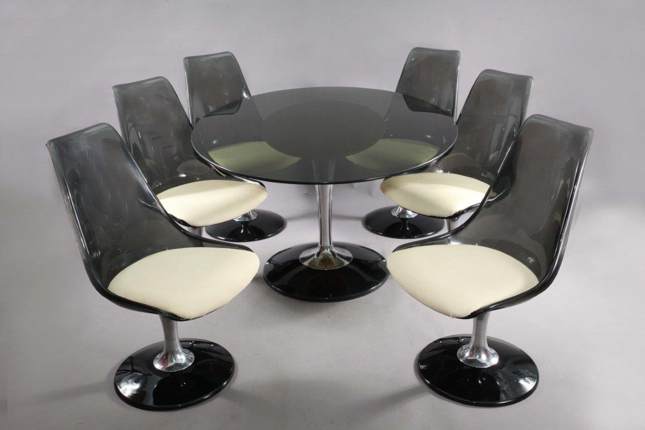 ovaler tisch und 6 schwenkbare tulip st hle von chromcraft 1970er bei pamono kaufen. Black Bedroom Furniture Sets. Home Design Ideas