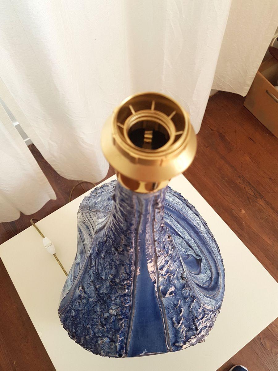 gro e italienische lampen aus blauer keramik 1980er 2er set bei pamono kaufen. Black Bedroom Furniture Sets. Home Design Ideas
