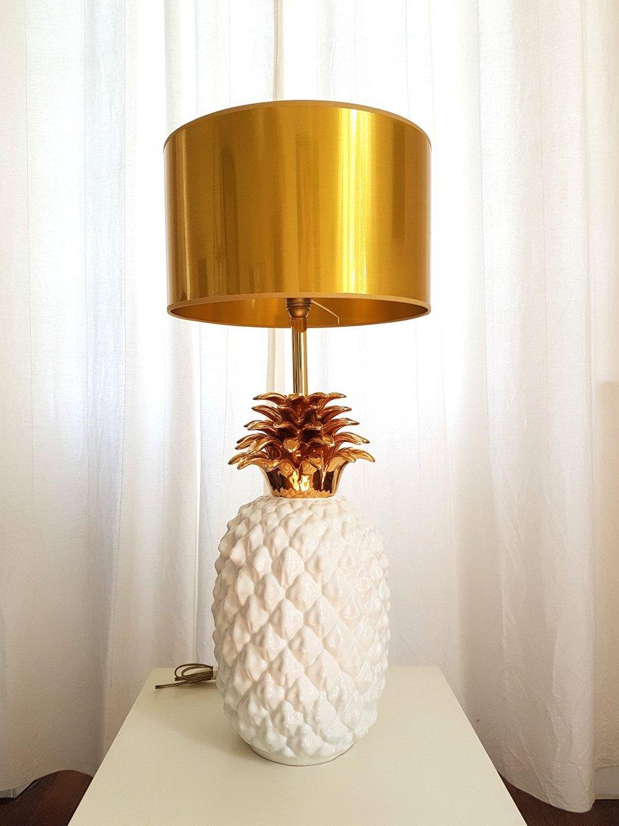 Große französische Ananas Keramik Lampe, 1970er