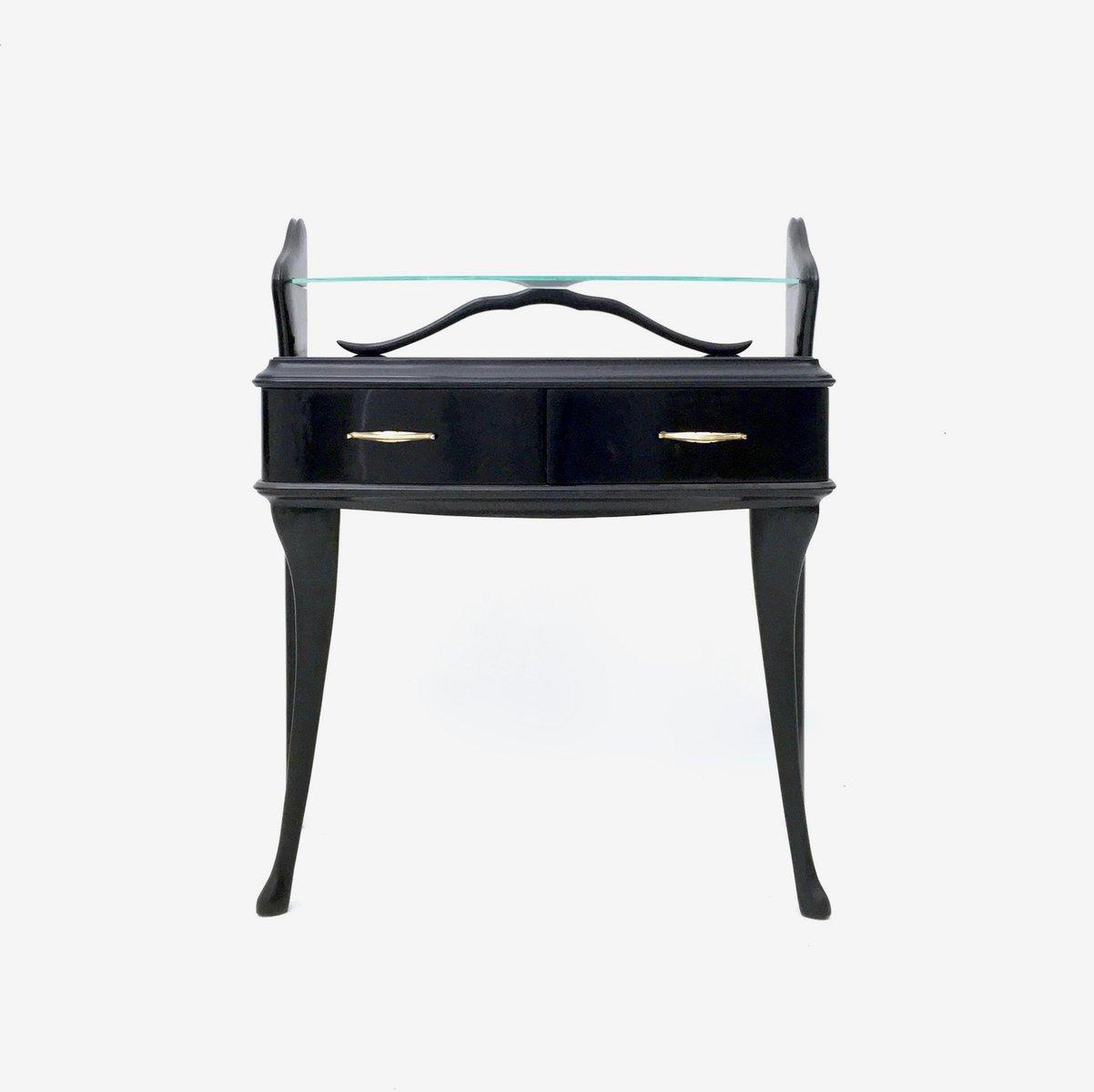 Schwarz lackierte Holz Nachttische mit Glasplatten, 1950er, 2er Set