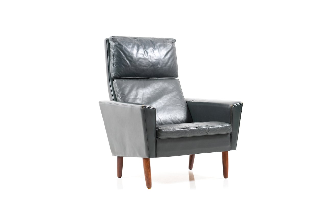 Dunkelgrüner dänischer Leder Sessel, 1960er