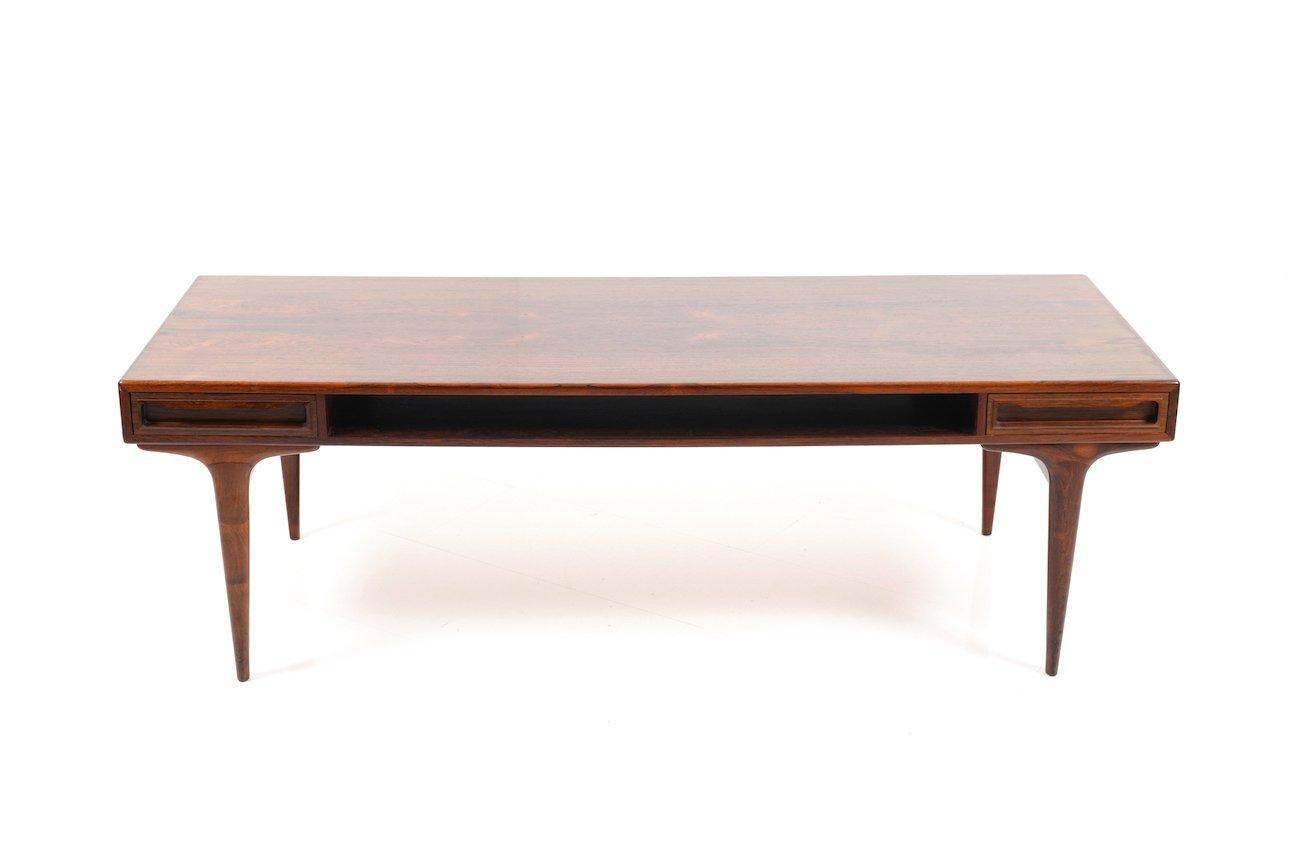 Rechteckiger dänischer Mid-Century Palisander Tisch mit 2 Schubladen