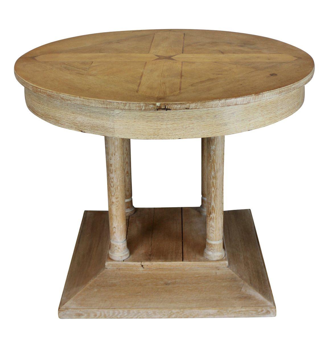 Französischer Vintage Tisch aus geleimter Eiche mit Pfeilern