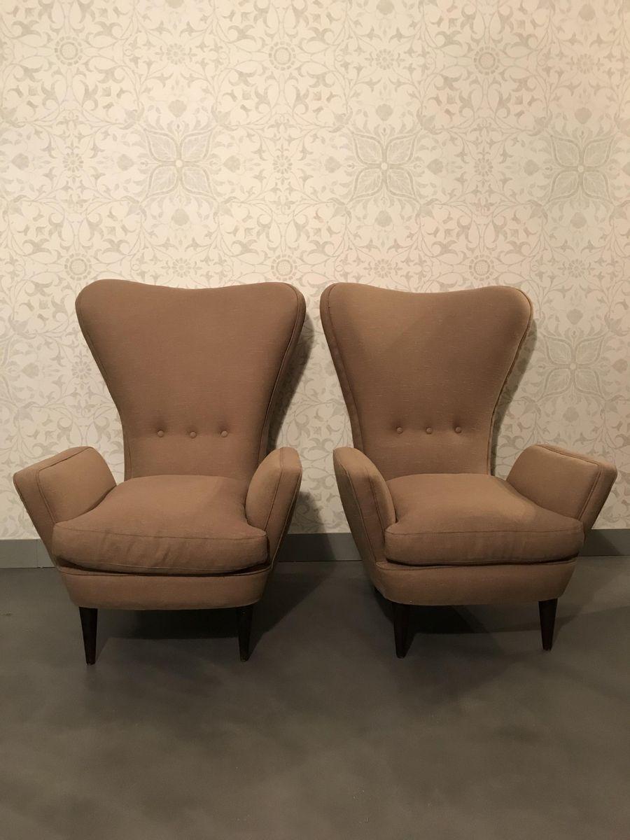 Braune Sessel, 1950er, 2er Set