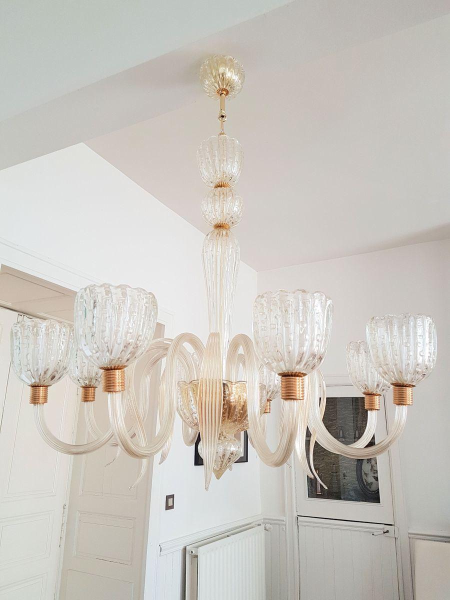 Großer 8-Leuchten Murano Glas Kronleuchter, 1970er