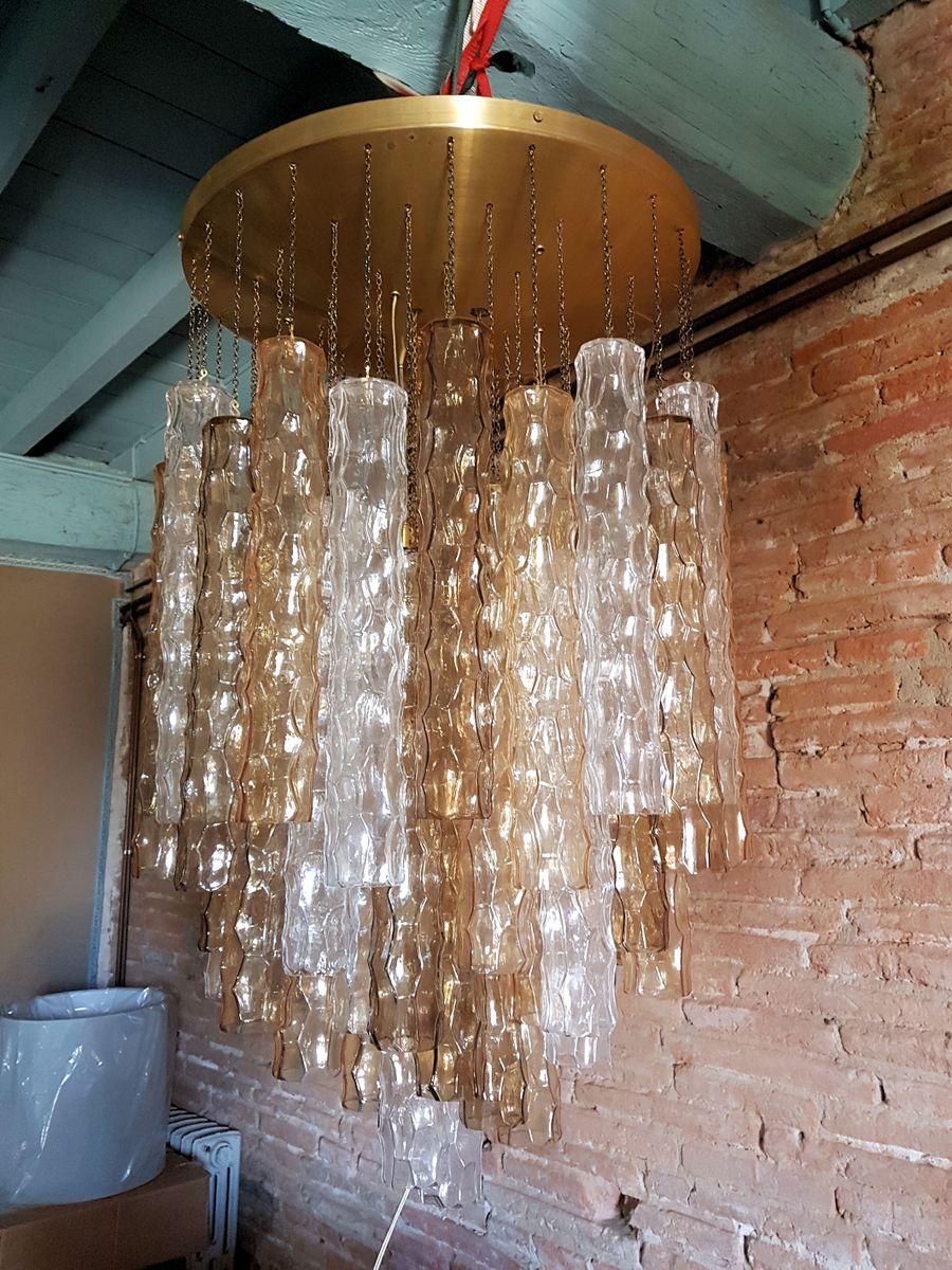 Große Einbau-Wandleuchte aus Bambus & Murano Glas von Mazzega, 1970er