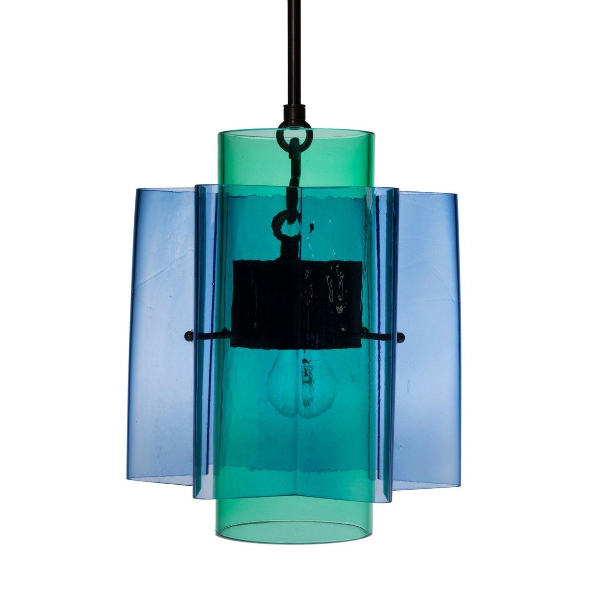 Sternförmige Petrona Hängelampe aus mundgeblasenem Glas in Blau & Grün...