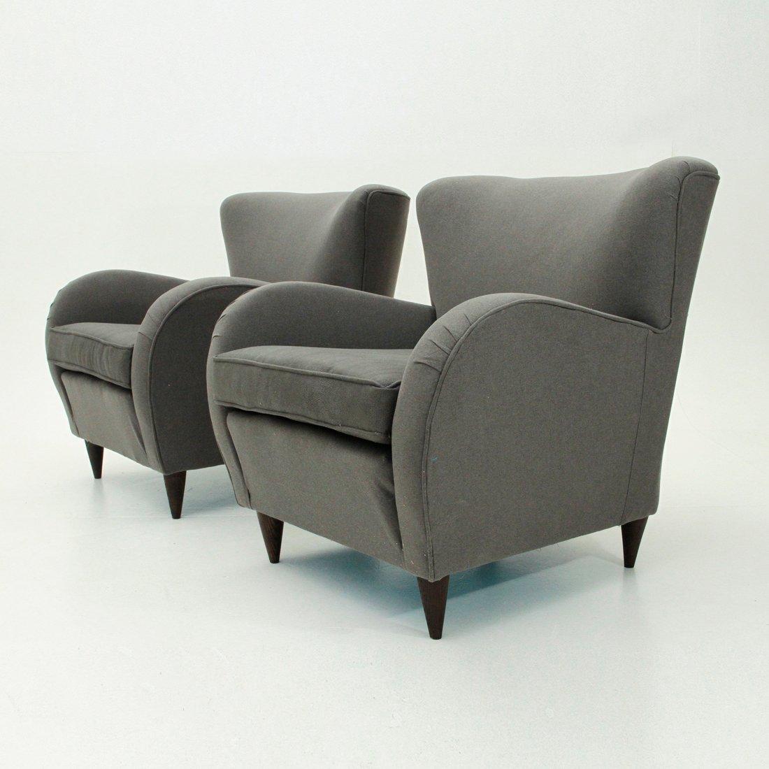 italienische graue mid century armlehnst hle 1950er 2er set bei pamono kaufen. Black Bedroom Furniture Sets. Home Design Ideas
