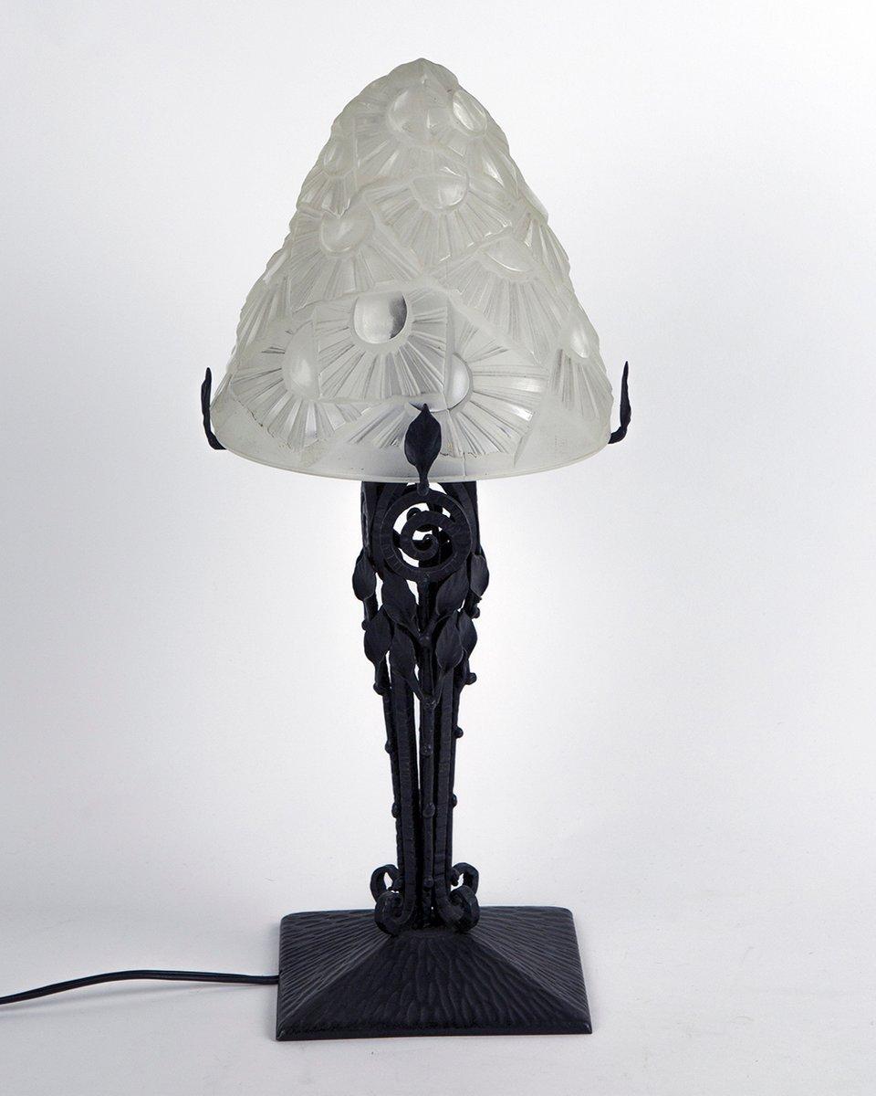 Vintage Art Deco Tischlampe von David Gueron für Degué