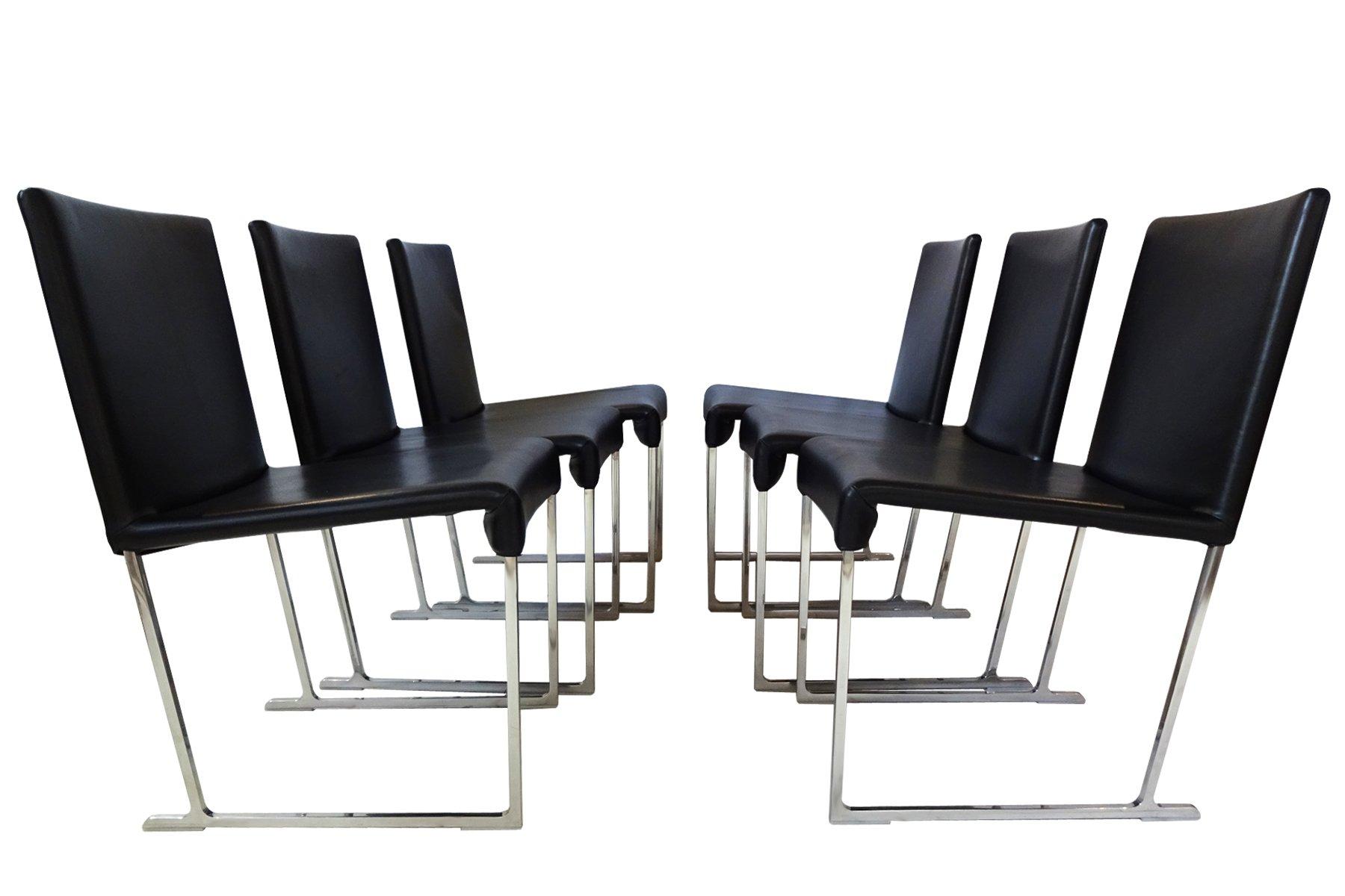 maxalto solo esszimmerst hle aus schwarzem leder von antonio citterio f r b b italia 2006 6er. Black Bedroom Furniture Sets. Home Design Ideas