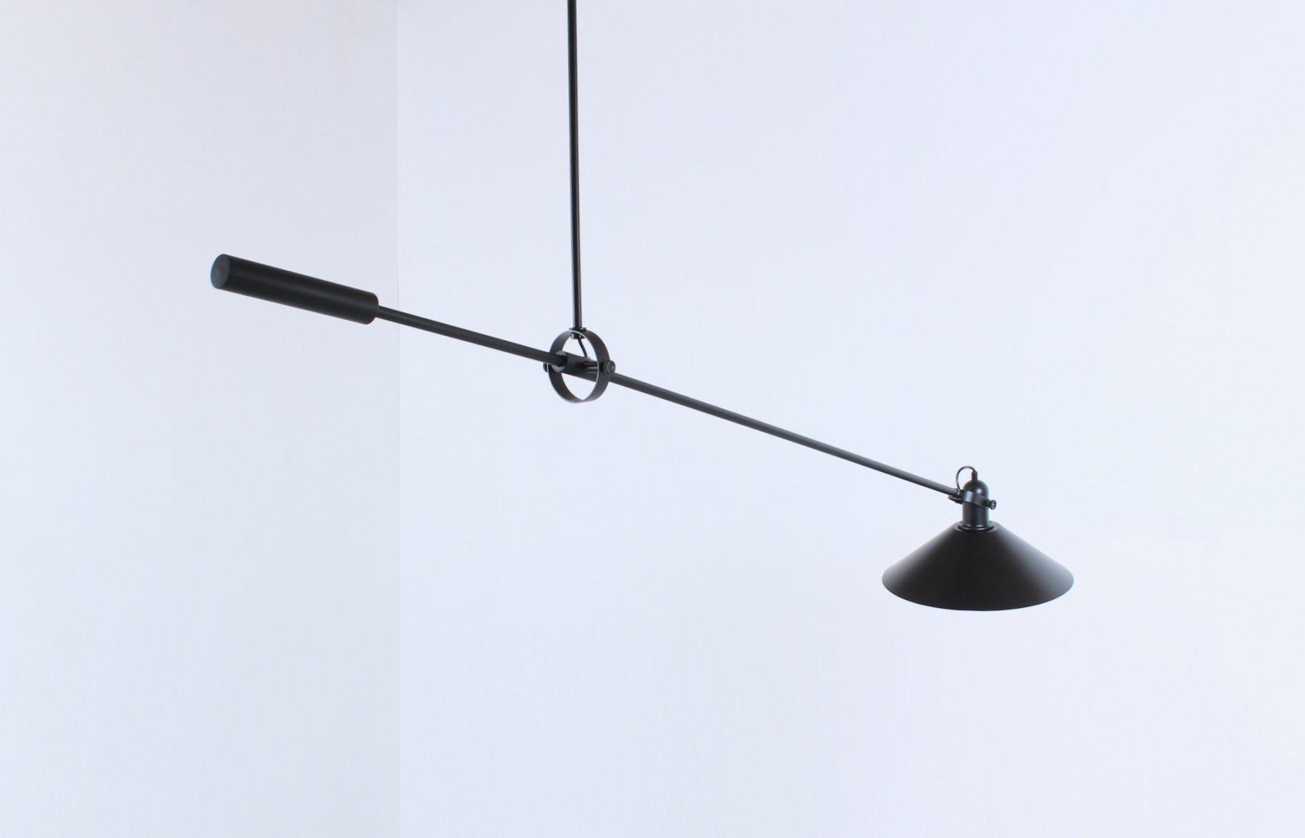 Schwarze Gegengewicht Deckenlampe von J. J. M. Hoogervorst für Anvia, ...