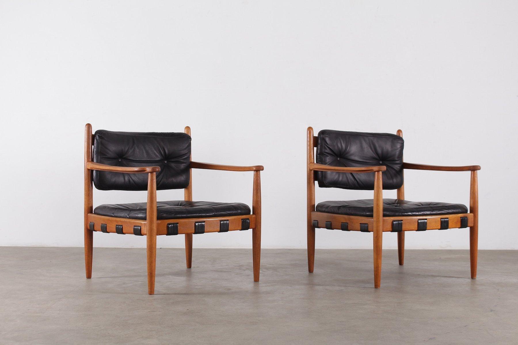 Skandinavische schwarze Vintage Leder Sessel von Eric Merthen, 2er Set