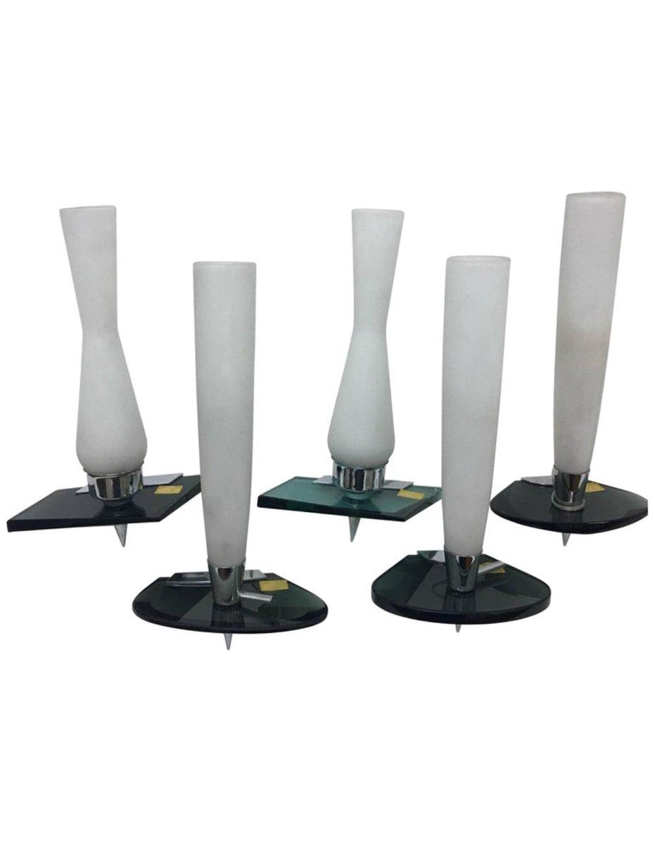 Stahl & Glas Wandlampen, 1970er, 5er Set