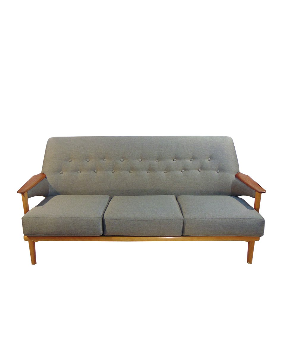 Dänisches Eichenholz & Teak 3-Sitzer Sofa, 1960er