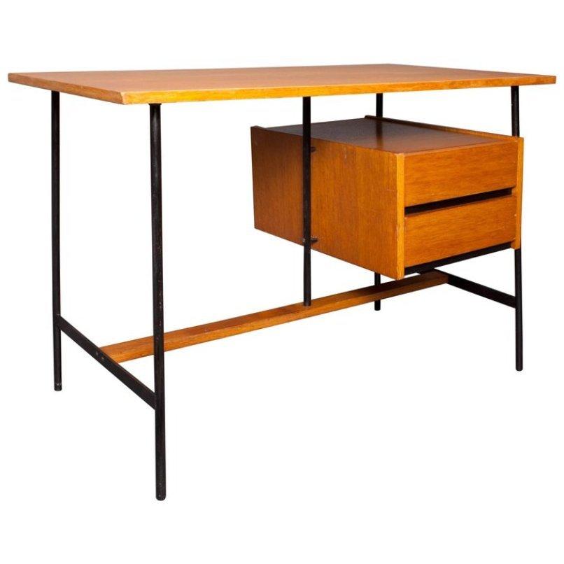 franz sischee schreibtisch aus eichenholz furnier metall 1960er bei pamono kaufen. Black Bedroom Furniture Sets. Home Design Ideas
