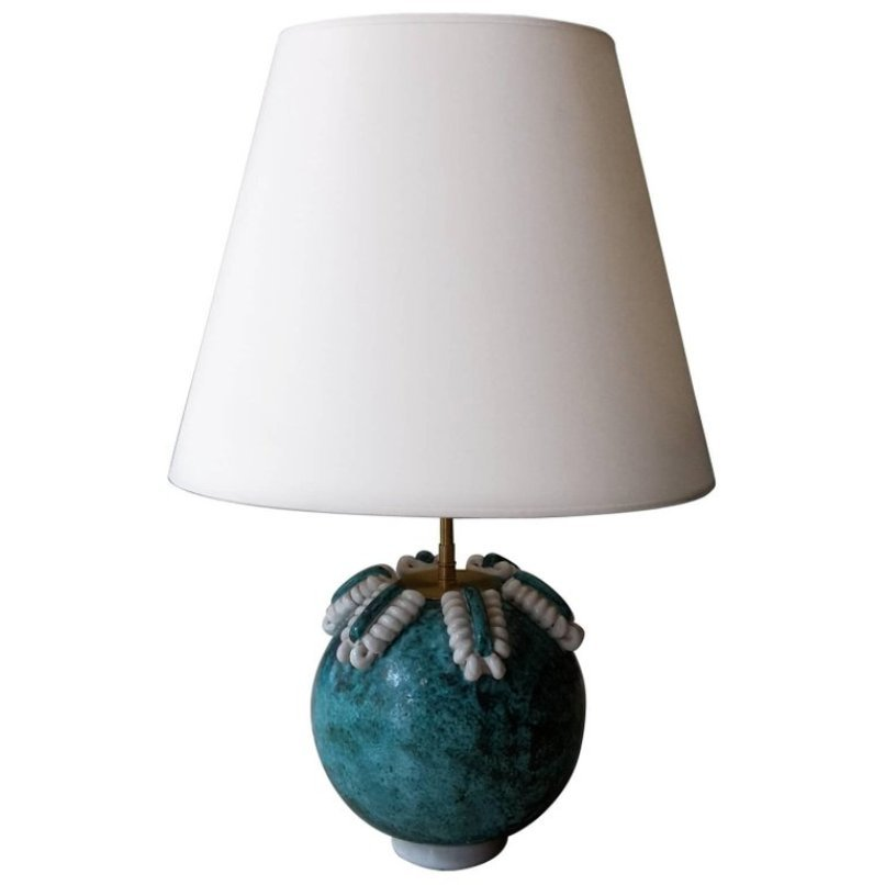 Vintage Turquoise White Ceramic Table Lamp For Sale At Pamono