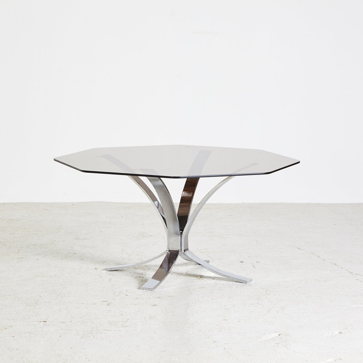 Vintage 1970s Octagonal With Top Glass Smoked Sale Table For Coffee r0wvxr