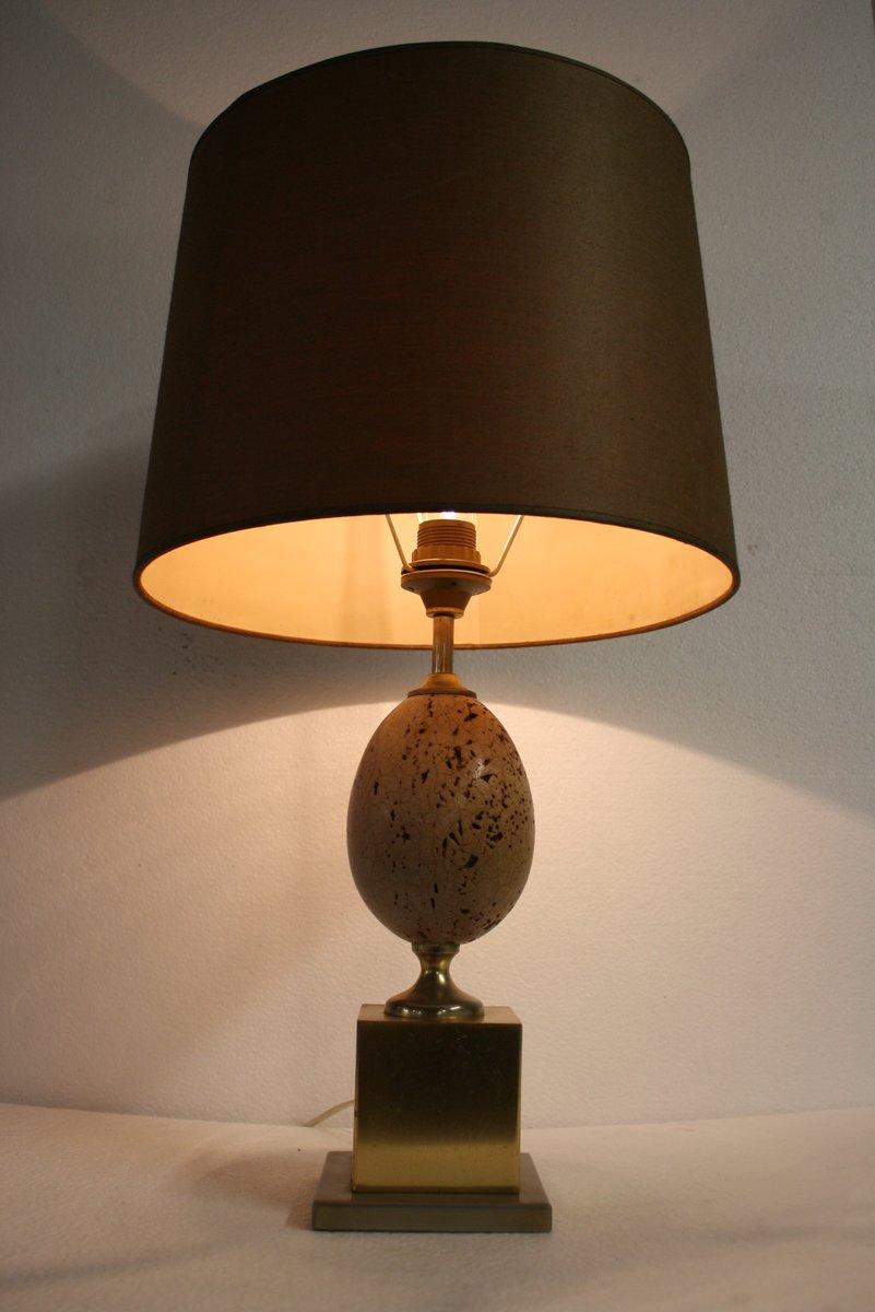Lampes De Bureau Oeuf D Autruche En Laiton 1960s Set De 2 En Vente
