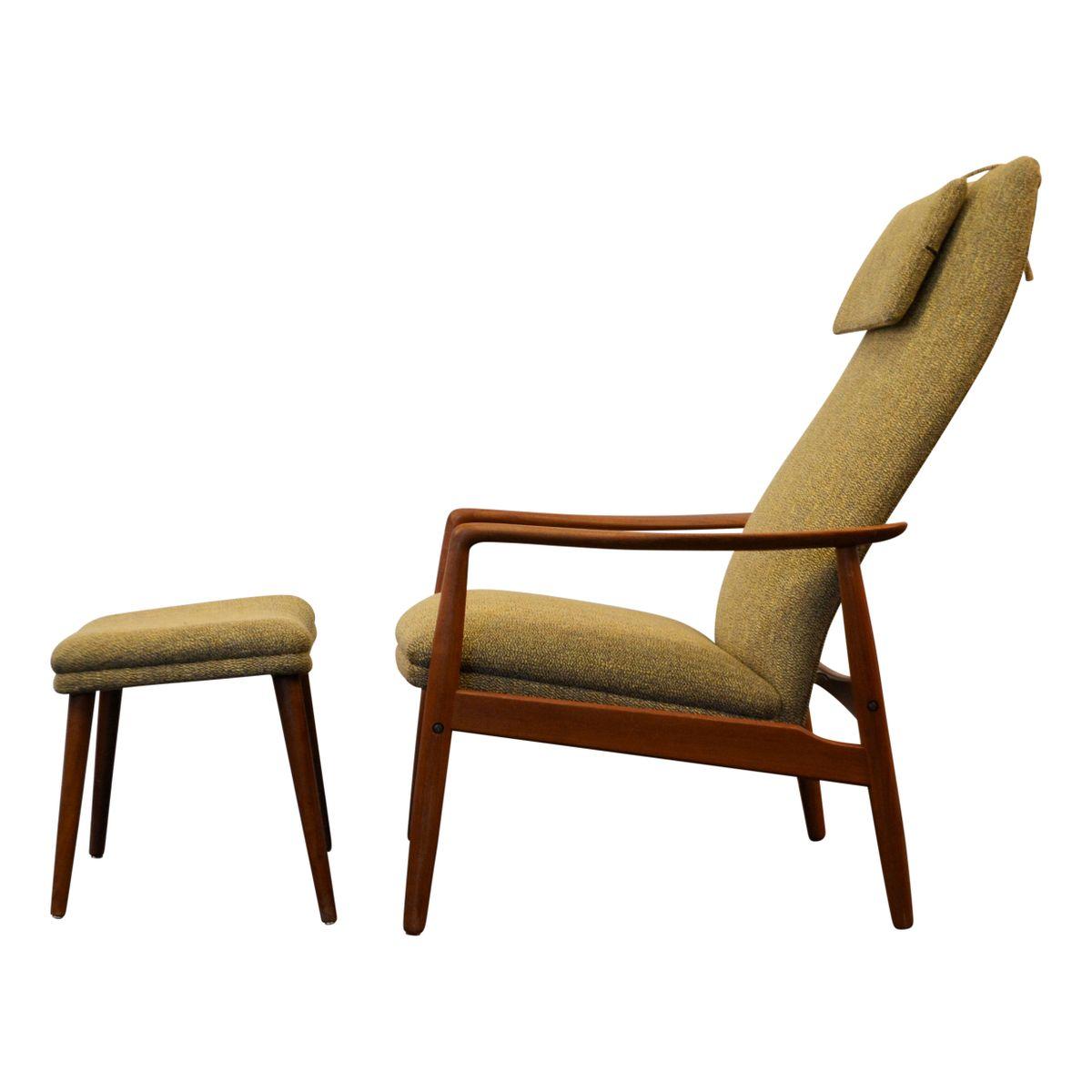 Vintage Teak Sessel & Fußhocker von Søren Ladefoged für SL Møbler