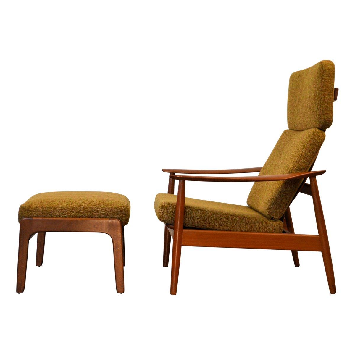 Vintage Model FD164 Teak Lounge Chair U0026 Footstool By Arne Vodder For Cado