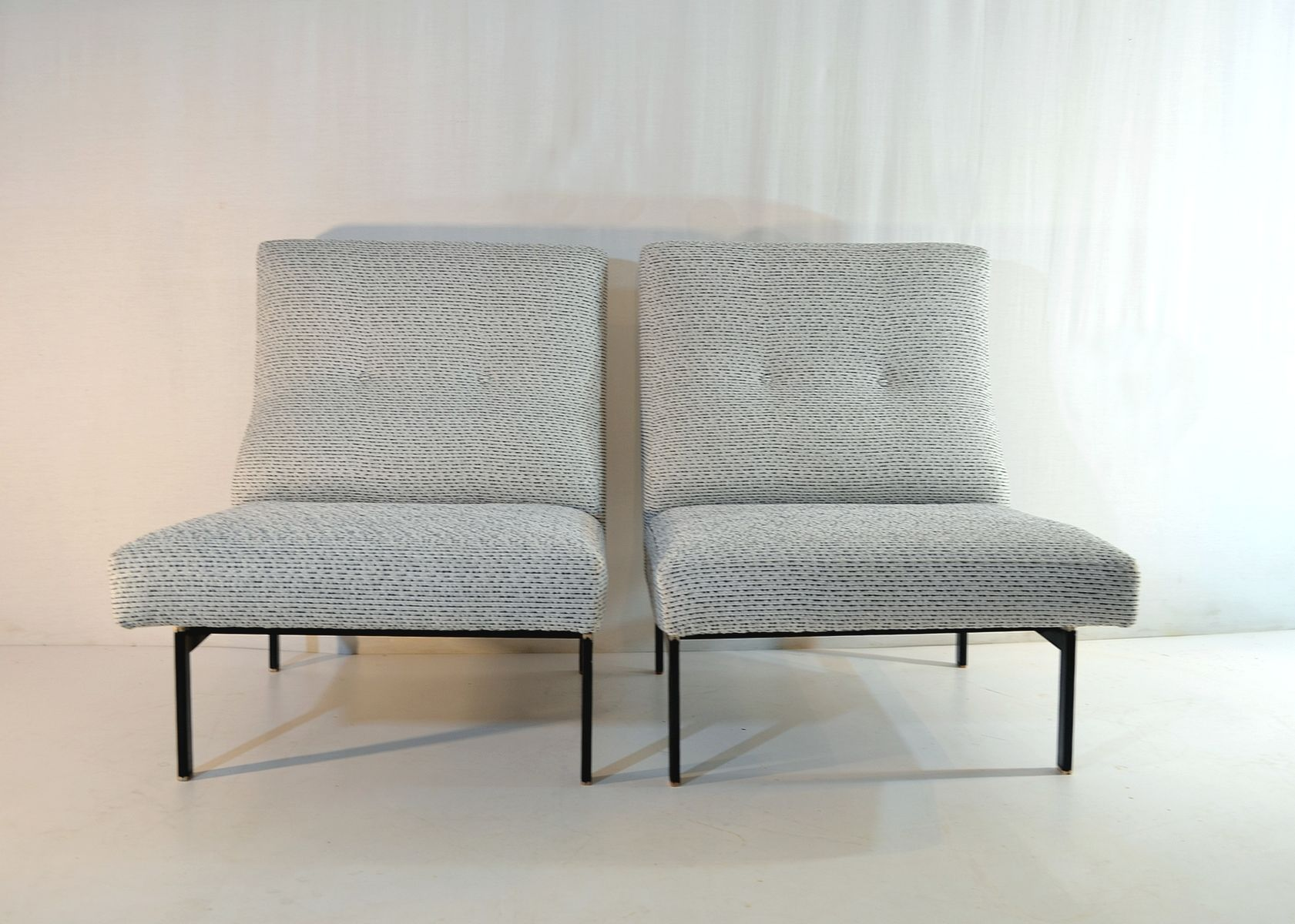 mid century italian slipper white lounge chairs set of 2 for sale