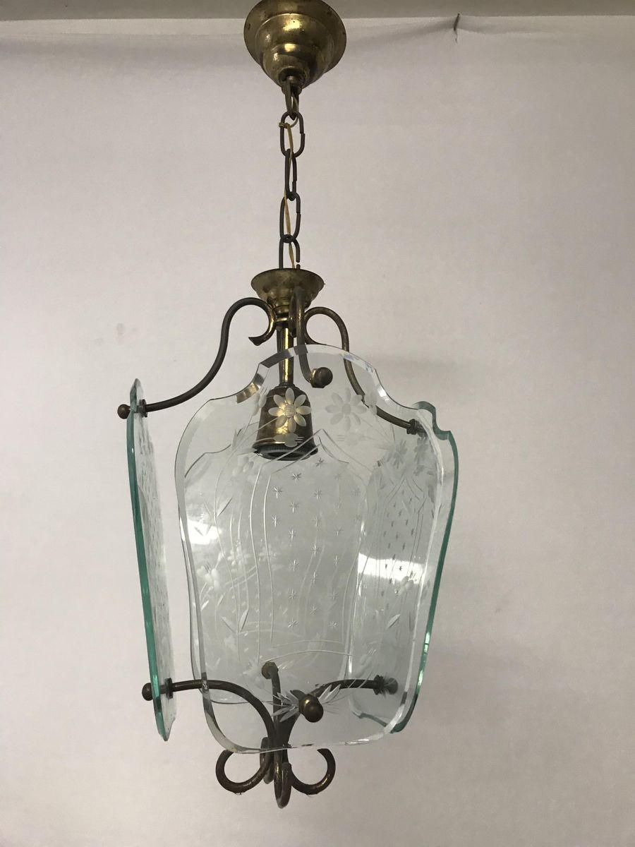 Italienische geätzte Vintage Glas Hängelampe