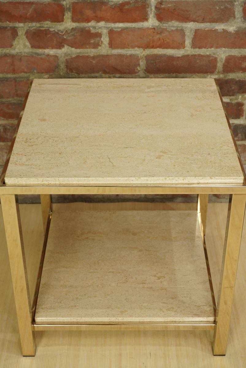 table basse en or et travertin de belgo chrom dewulf selection 1970s en vente sur pamono. Black Bedroom Furniture Sets. Home Design Ideas