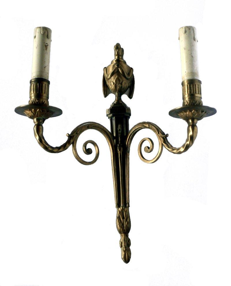 Antike französische Bronze Wandlampe von Marcel Guillemard