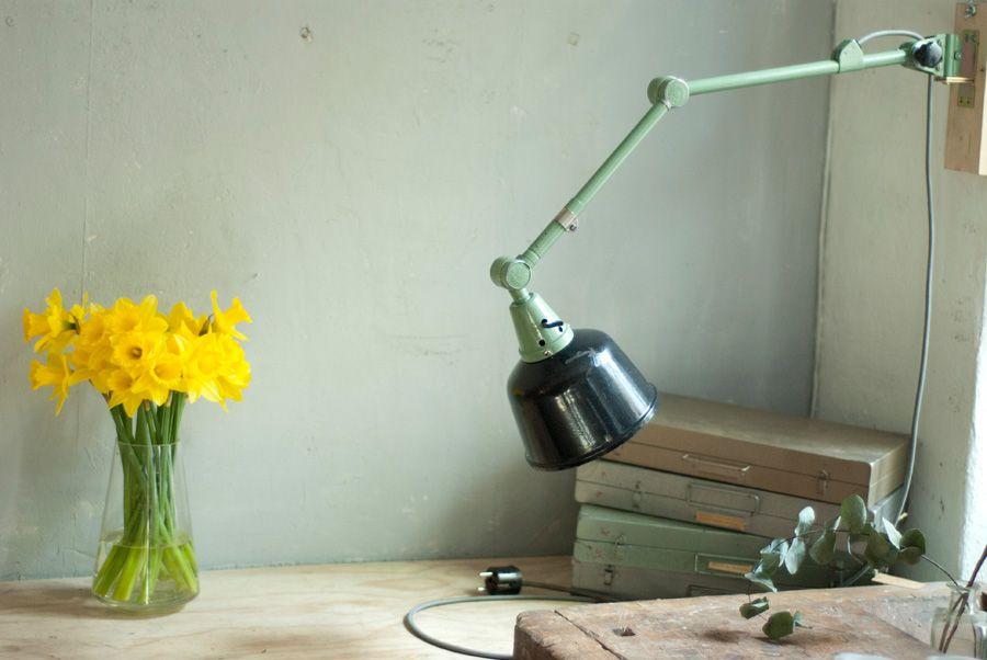 Vintage Enameled Reflector & Green Hinge Lamp von Curt Fischer für Mid...