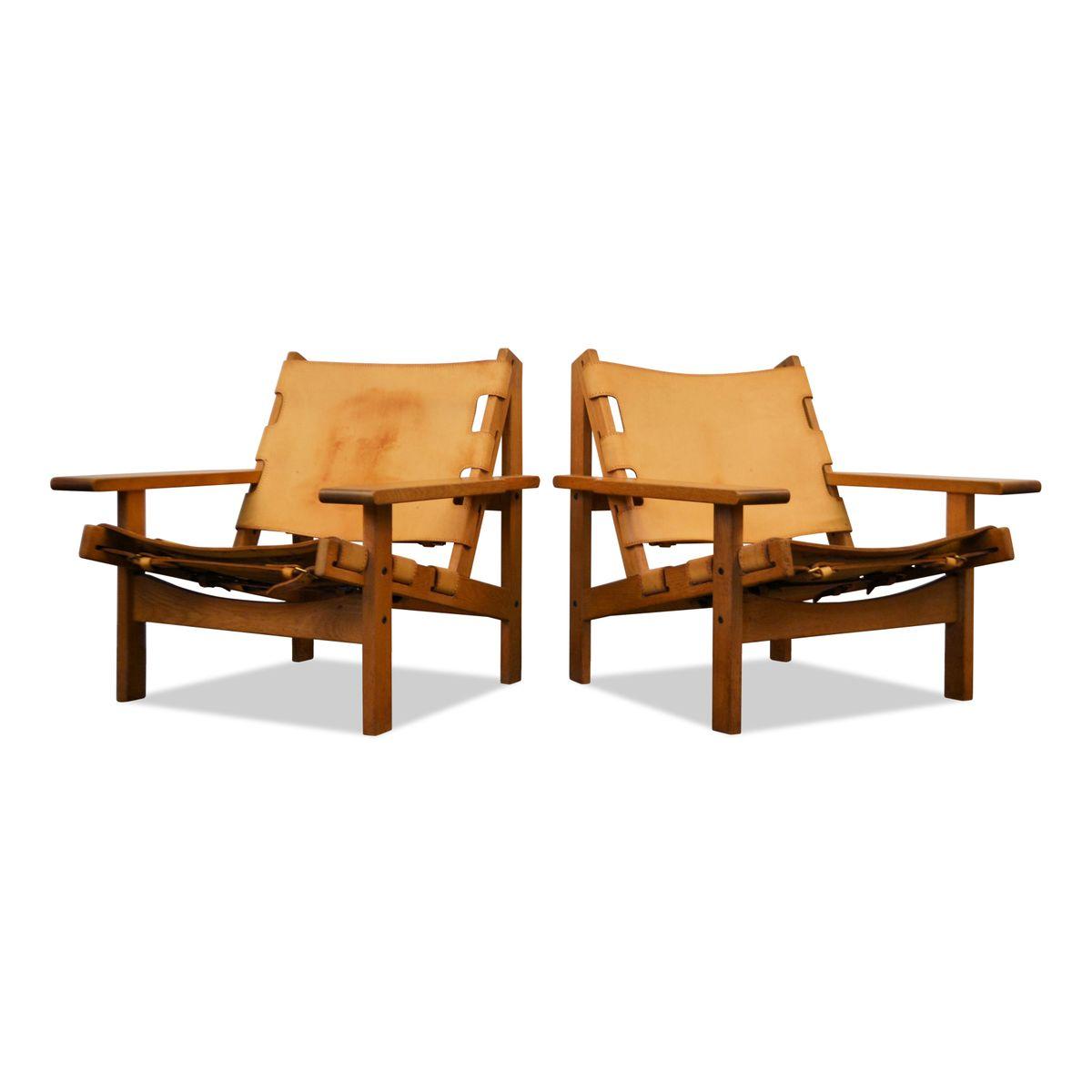 Vintage Leder Sessel mit Eiche Gestellen von Erling Jessen für Dahlman...