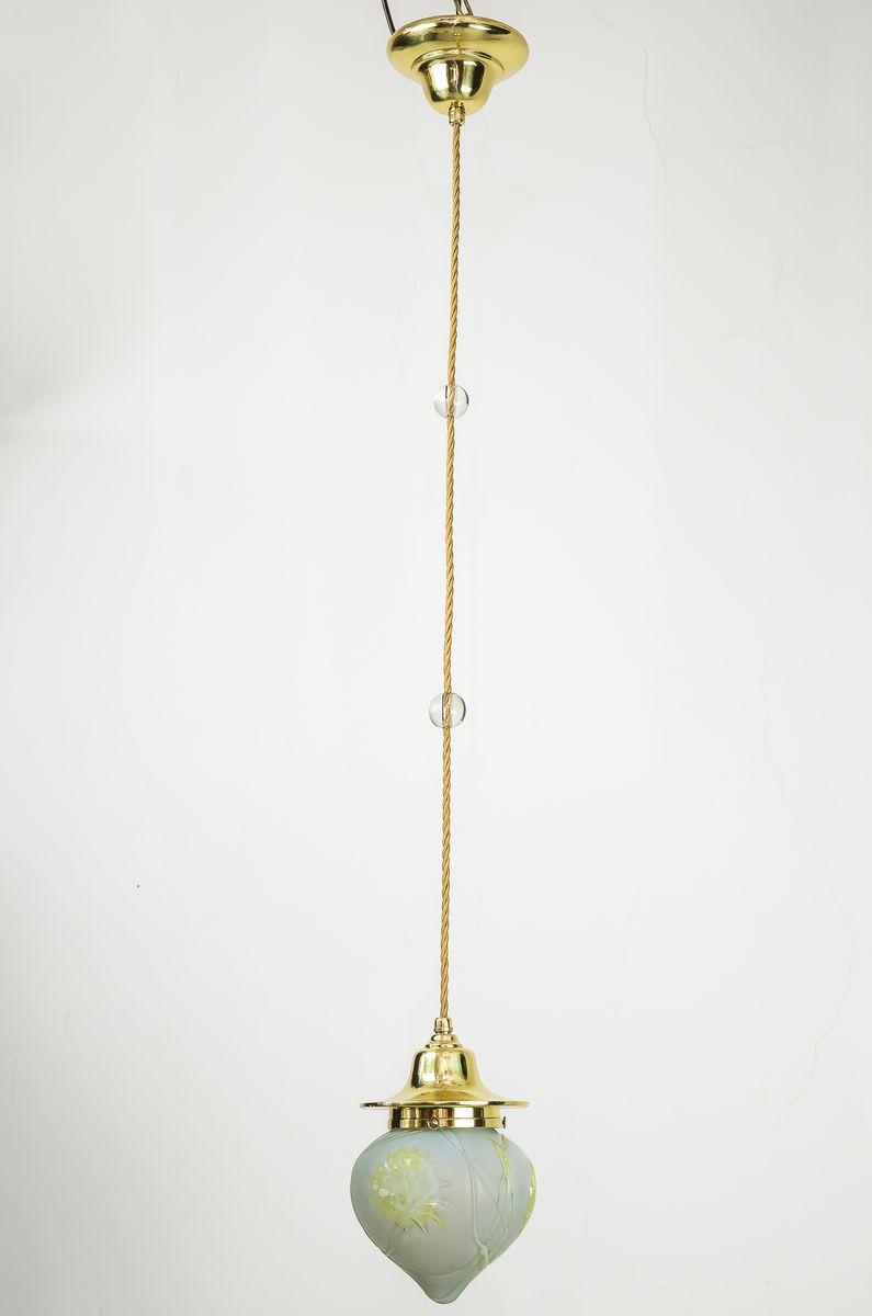 Jugendstil Hängelampen mit Original Palme Koenig Glasleuchten, 1908, 2...