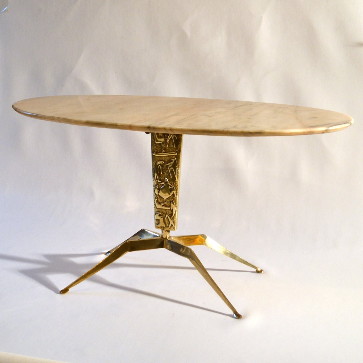 Oval Marble Coffee Table On Sculptural Bronze Relief Base 1950s