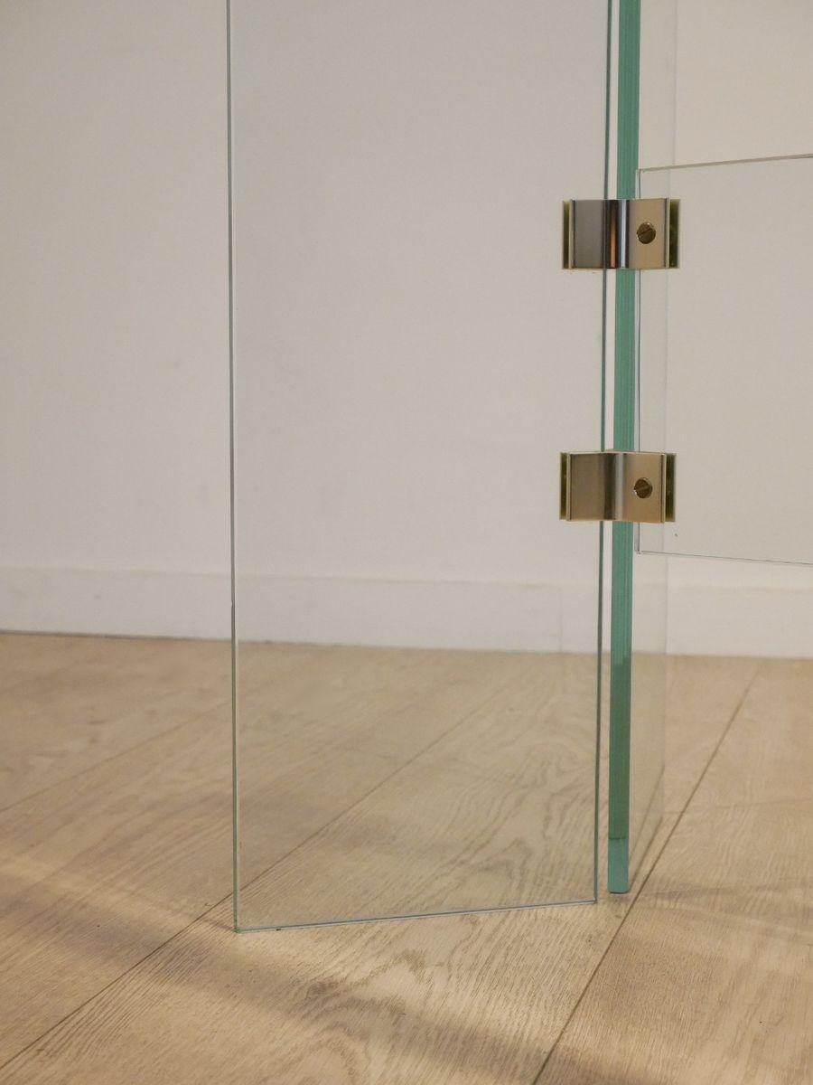Gebogenes glas metall konsolentisch 1970er bei pamono kaufen - Glas konsolentisch ...