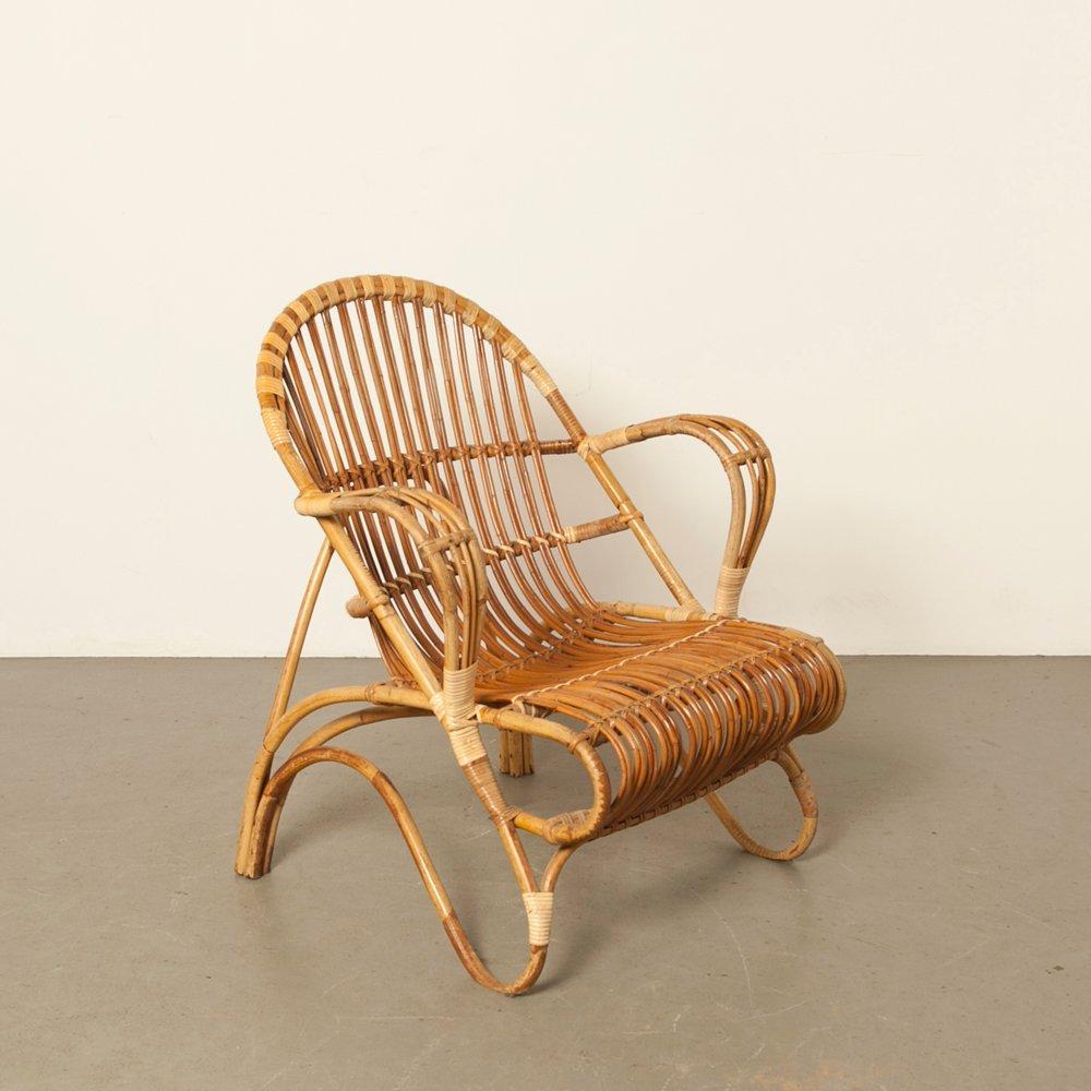 Rattan Lounge Chair By Dirk Van Sliedrecht For Rohé Noordwolde, 1950s