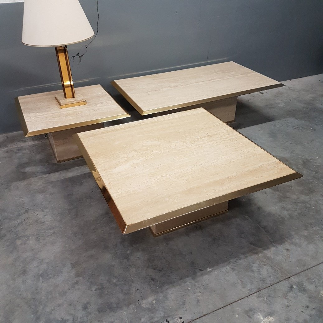 Travertine & Gilt Brass Coffee Tables, 1970s, Set Of 3 For