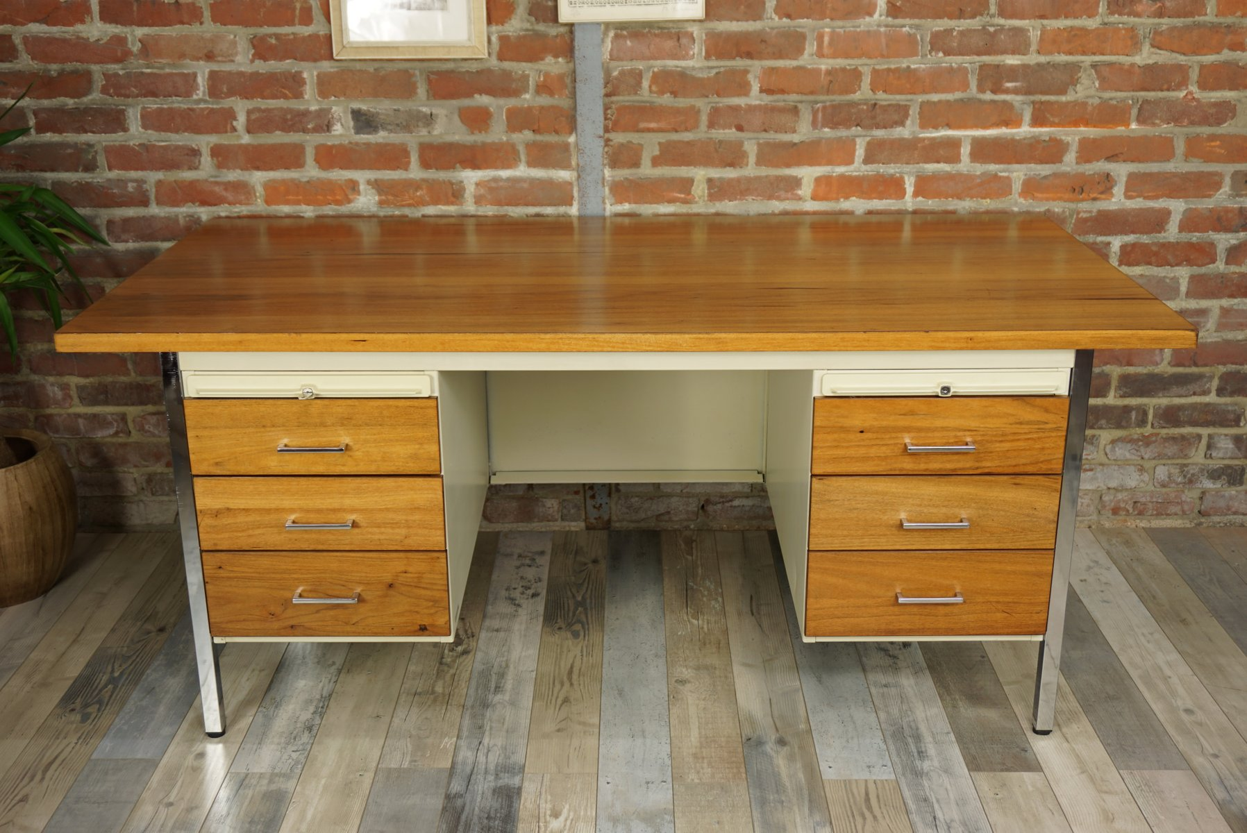 Mid Century Metal And Wood Executive Desk From Strafor 1950s