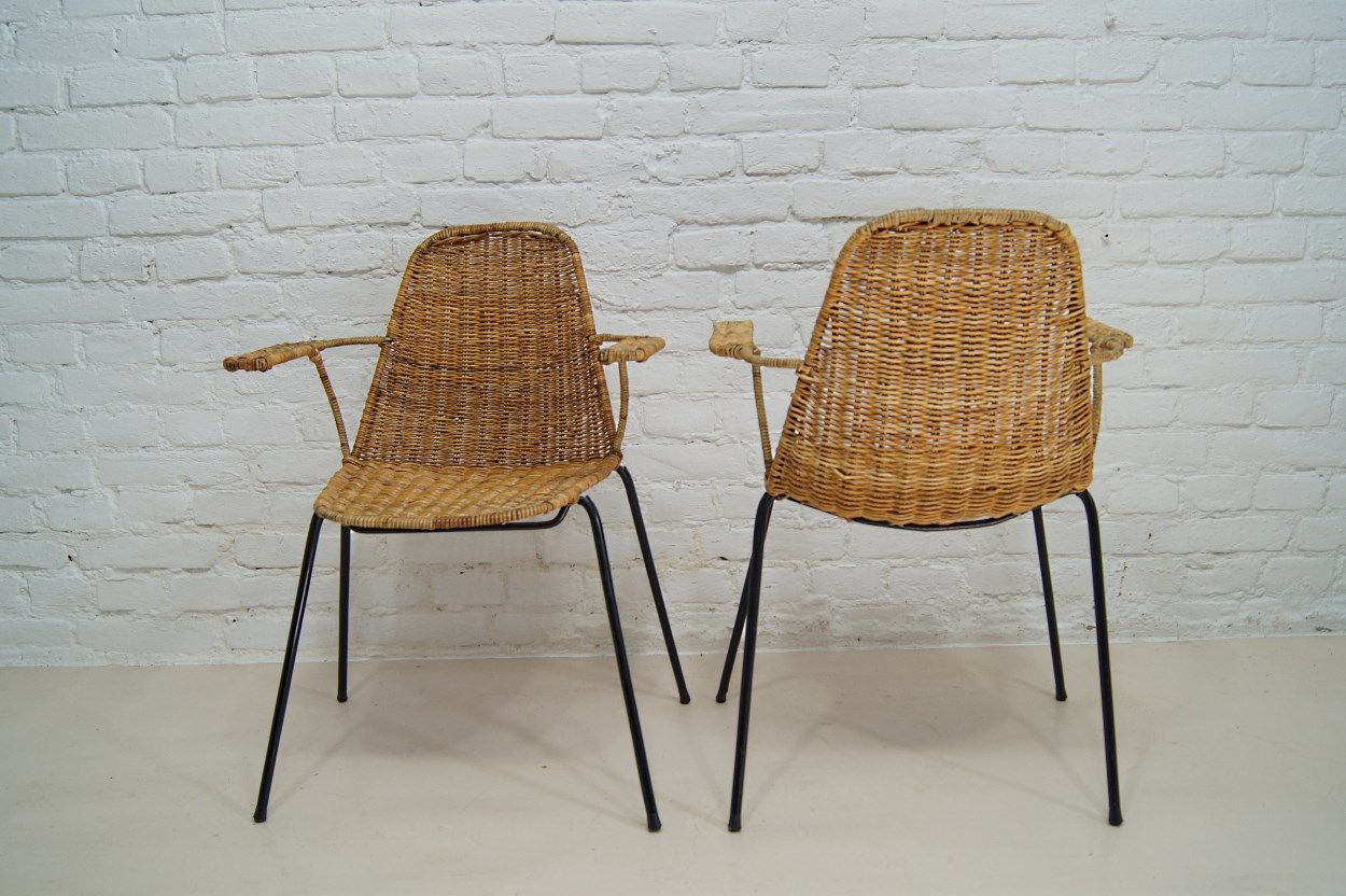 Genial Basket Chairs By Gian Franco Legler For Aarea, 1952, Set Of 2