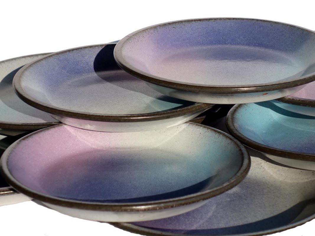Piatti vintage in ceramica di pino castagna italia set di in