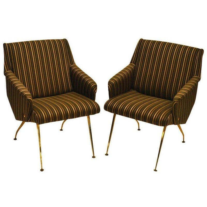Französische Sessel mit schwarzen und goldenen Streifen, 1950er, 2er S...