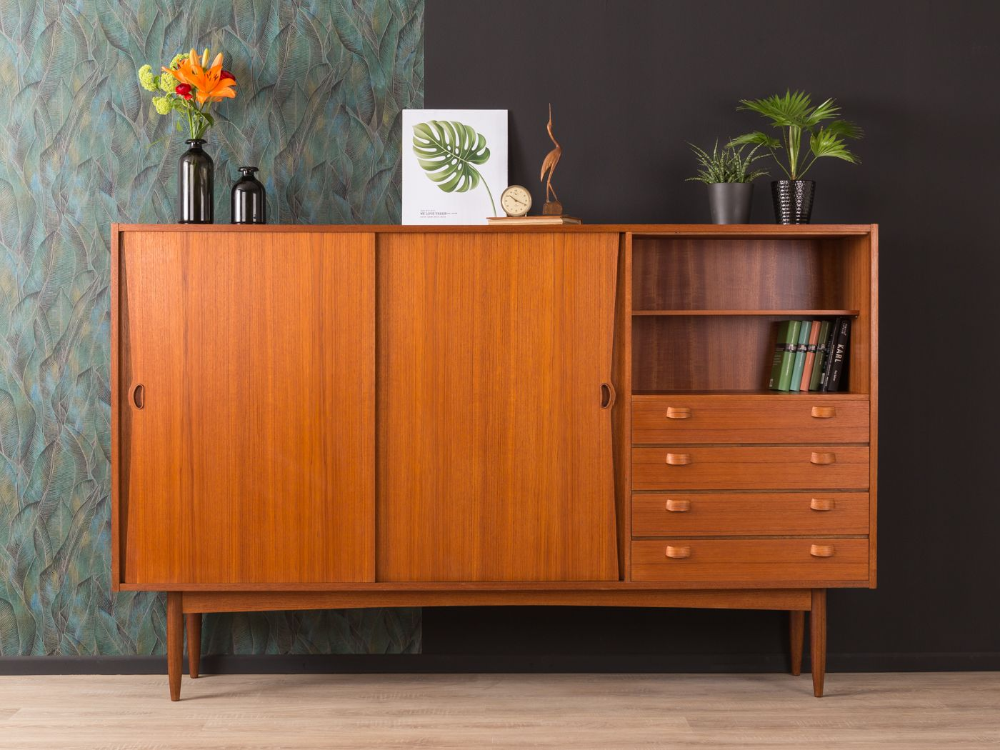 buffet haut vintage en contreplaqu teck 1960s en vente sur pamono. Black Bedroom Furniture Sets. Home Design Ideas