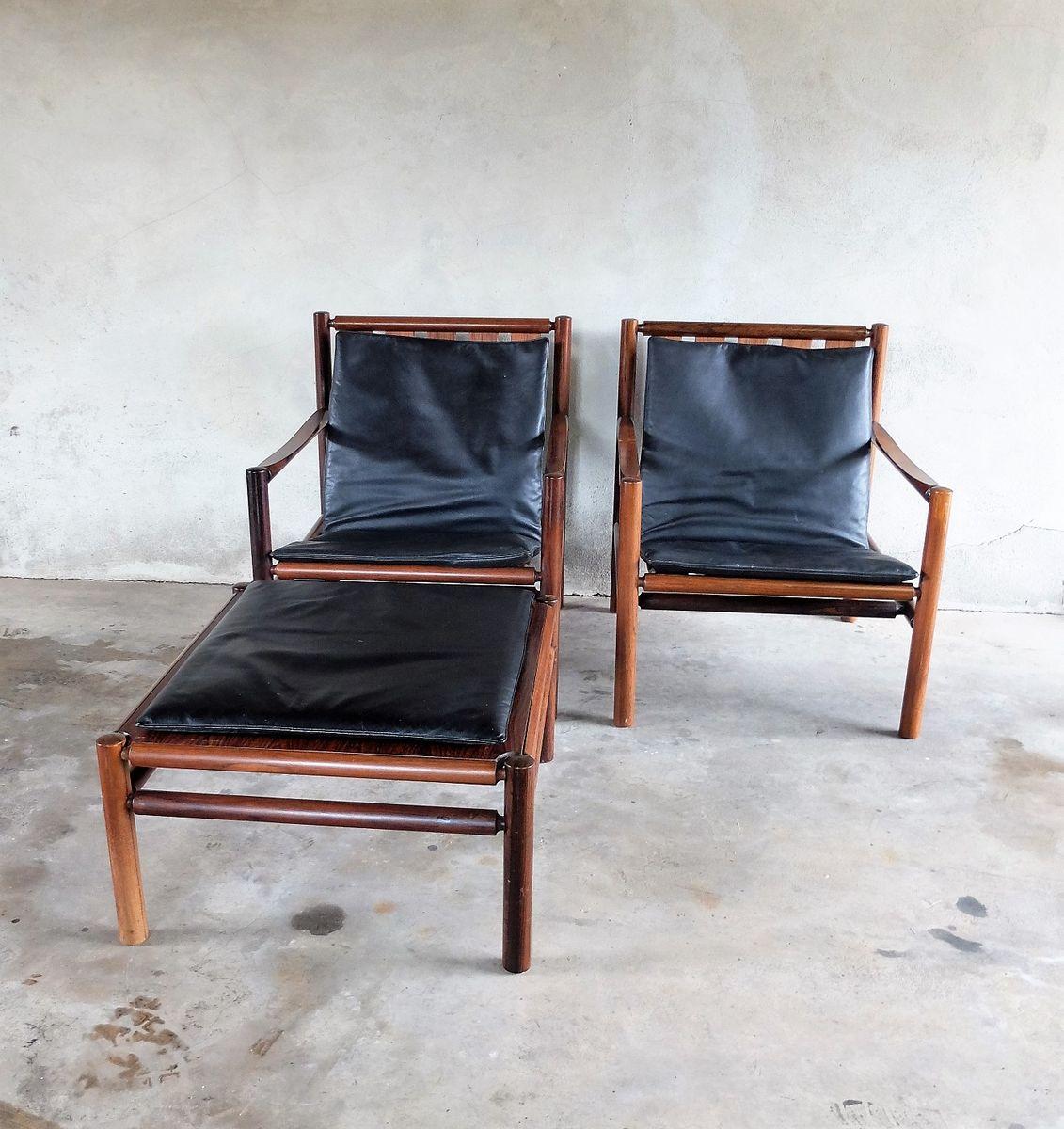 2 Palisander Sessel & 1 Fußschemel von Jorgen Nilsson für J.H. Johanss...