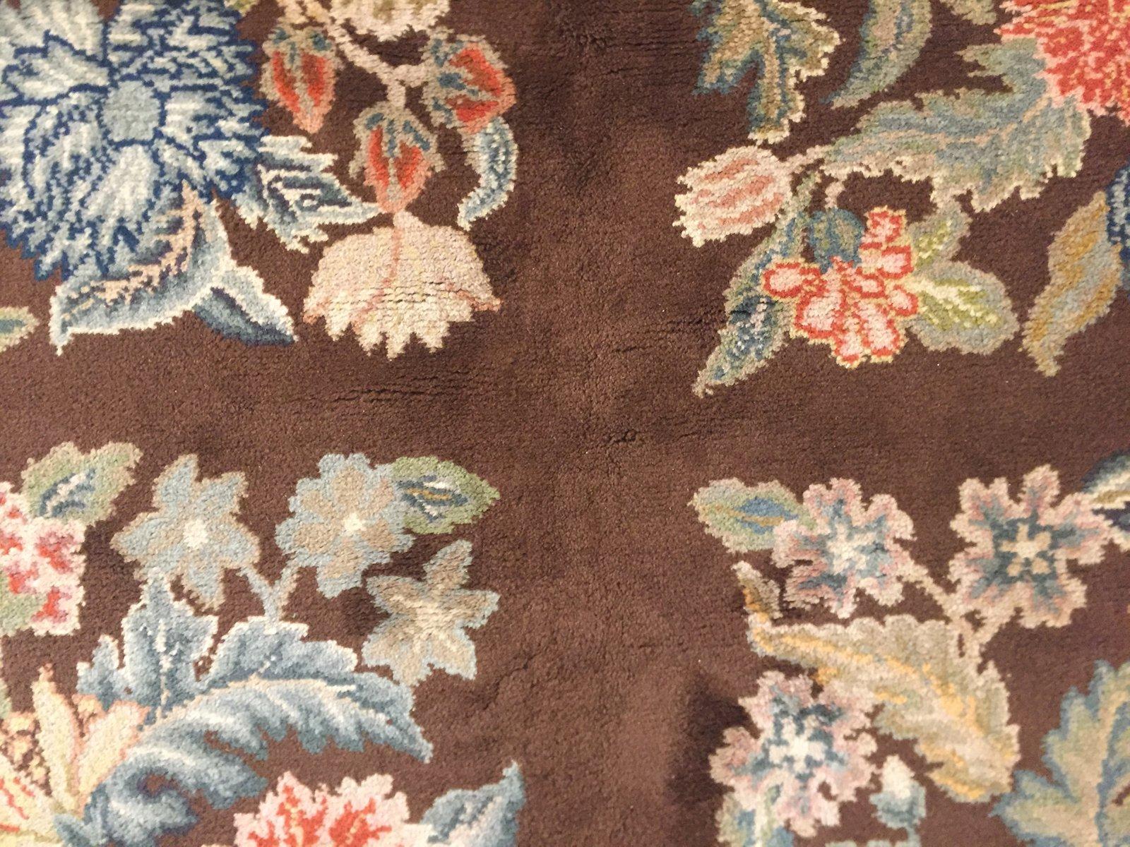 vintage art deco teppich mit floralem muster von savonnerie bei pamono kaufen. Black Bedroom Furniture Sets. Home Design Ideas